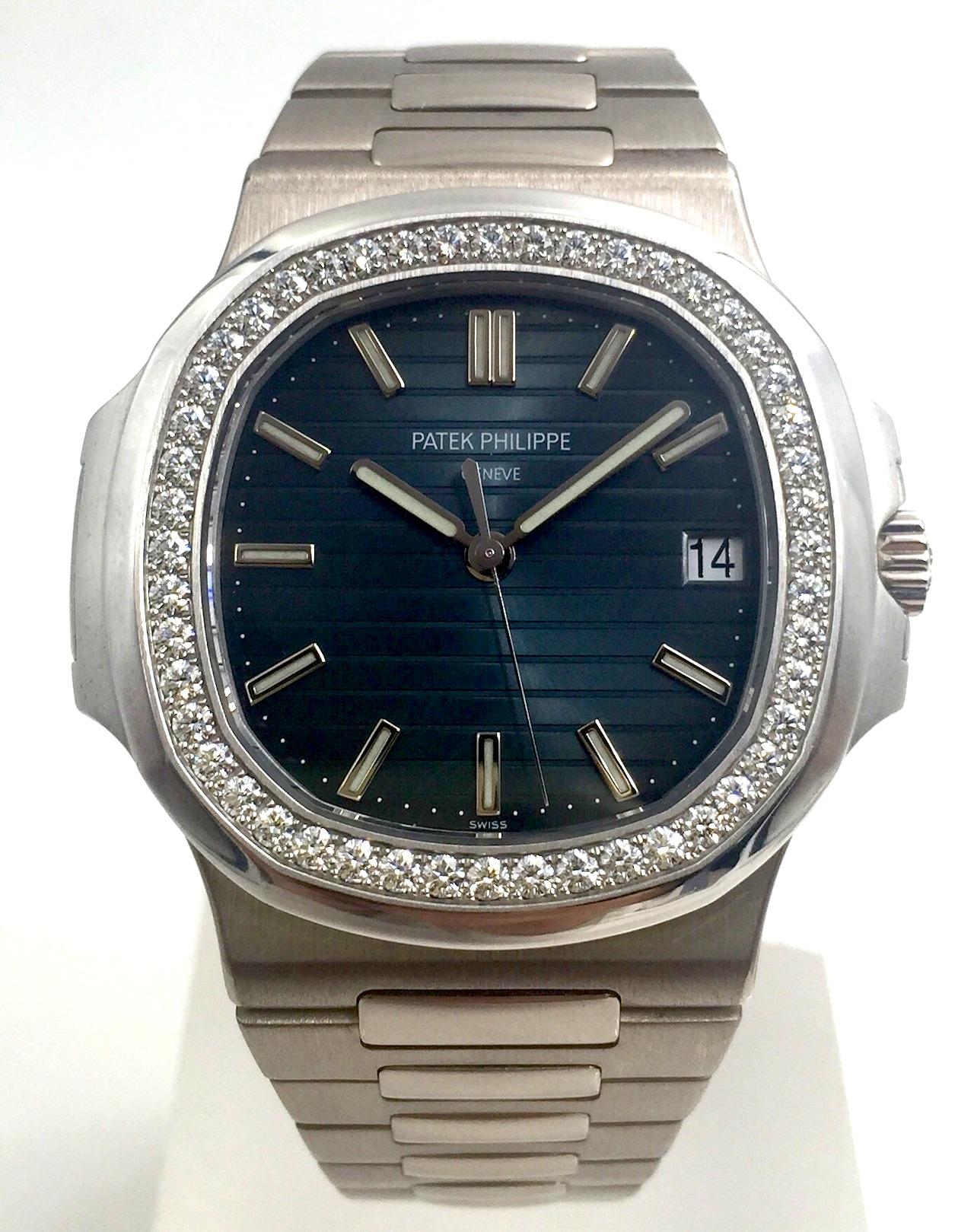 Patek Philippe Nautilus White Gold With Diamonds Ref 5713