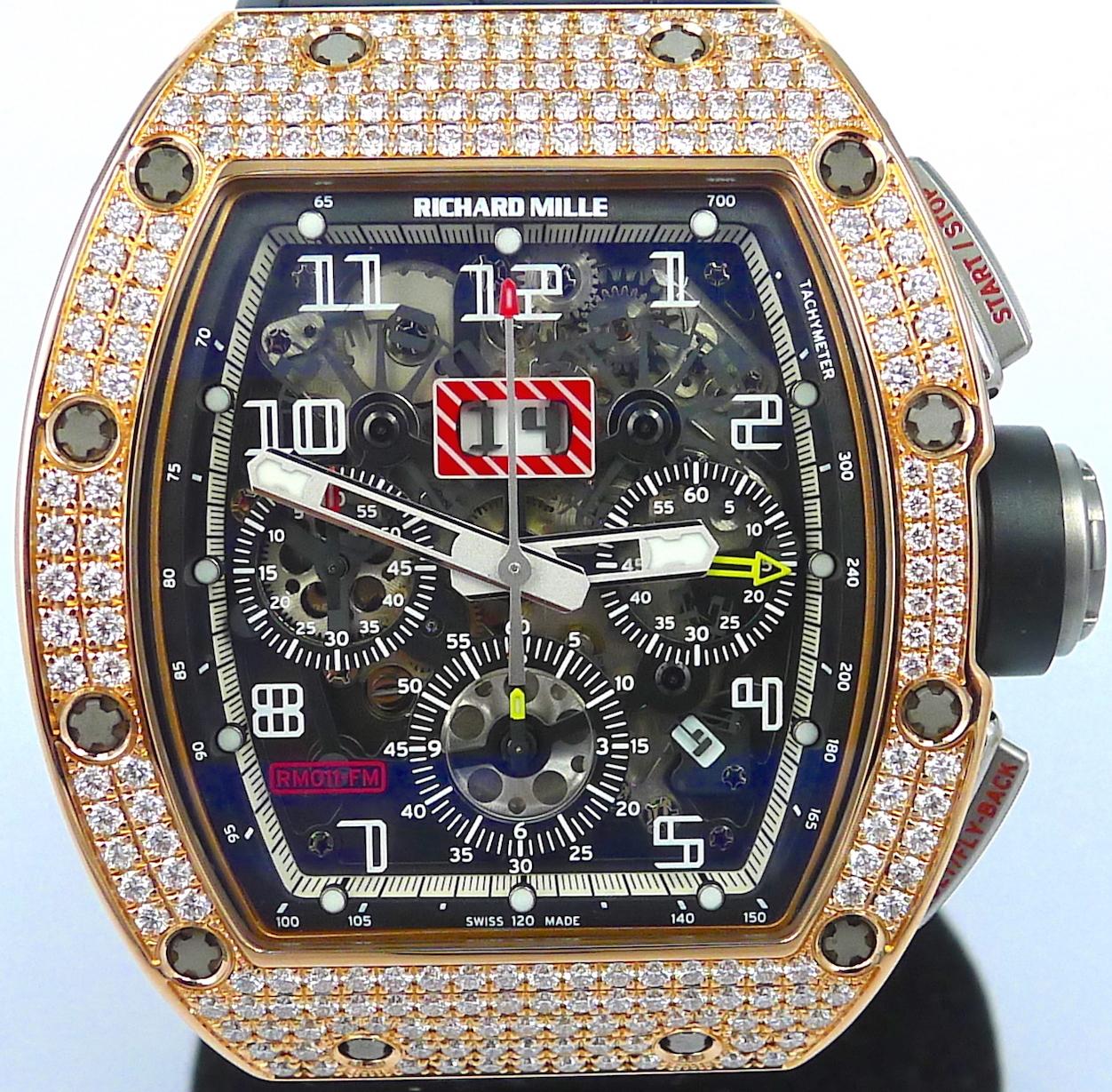 Richard Mille Rm011 Rose Gold Diamond Flyback Chronograph