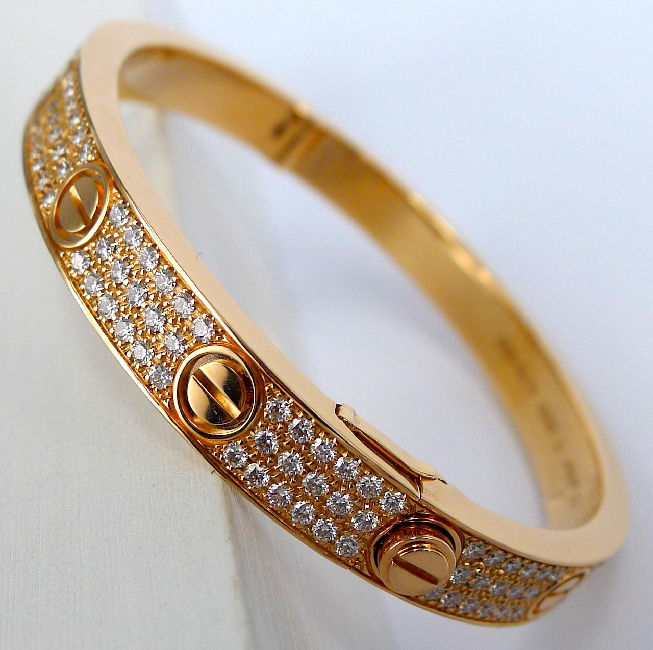 Cartier Love Bracelet Pink Gold Diamond Ref N6036916 New Unworn