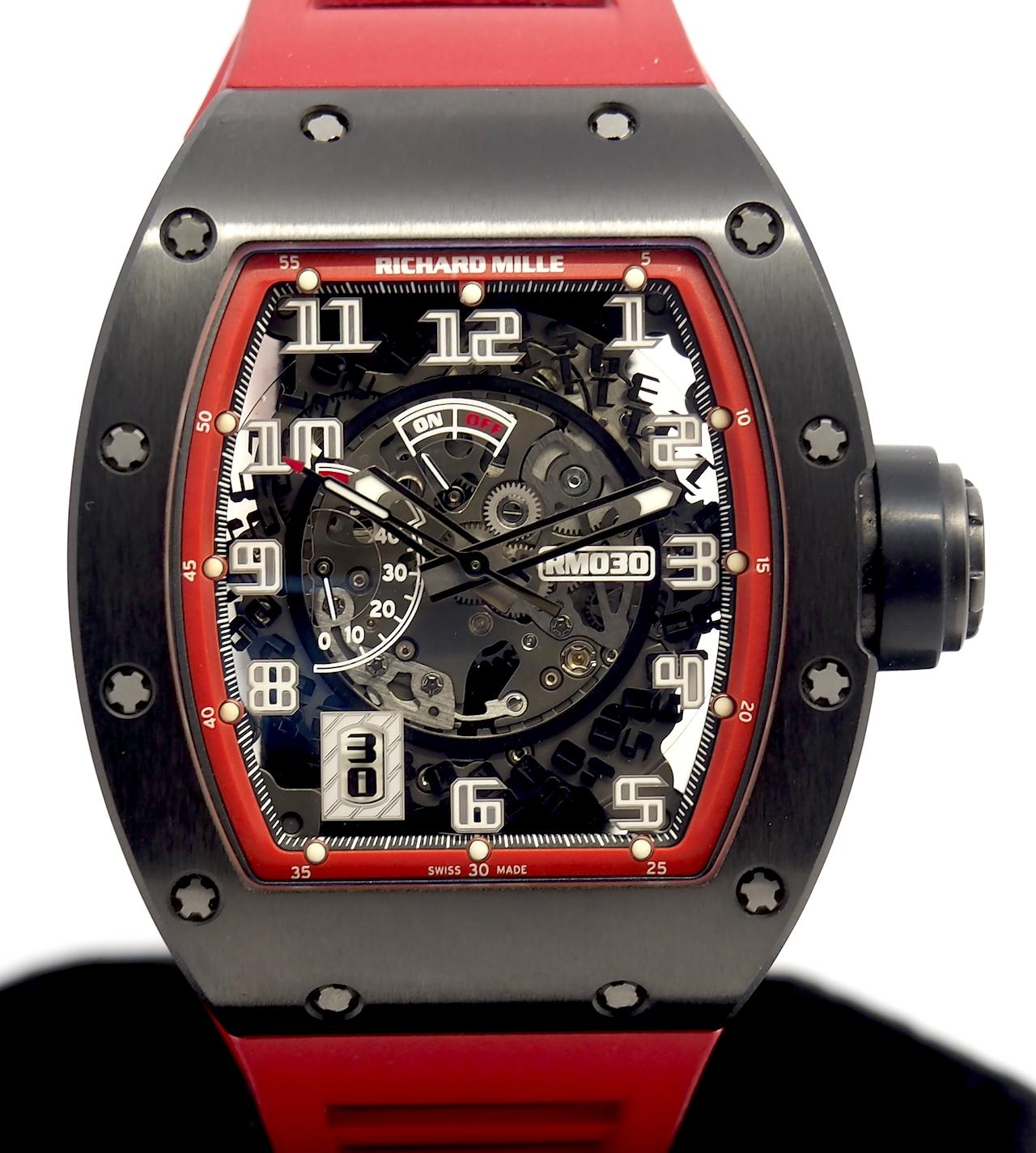 "Richard Mille ""Black Night"" Ref RM030 Black DLC Titanium Limited Edition |  GR Luxury-Singapore Rolex Reliable Watch Dealer"